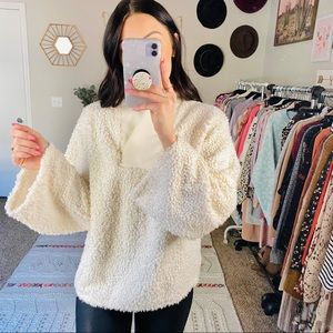 Zara Ivory Fuzzy Bell Sleeve Cozy Pullover Sweater